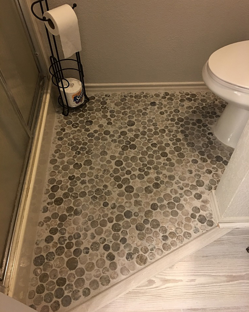 Light Grey Moon Mosaic Tile Powder Room Flooring