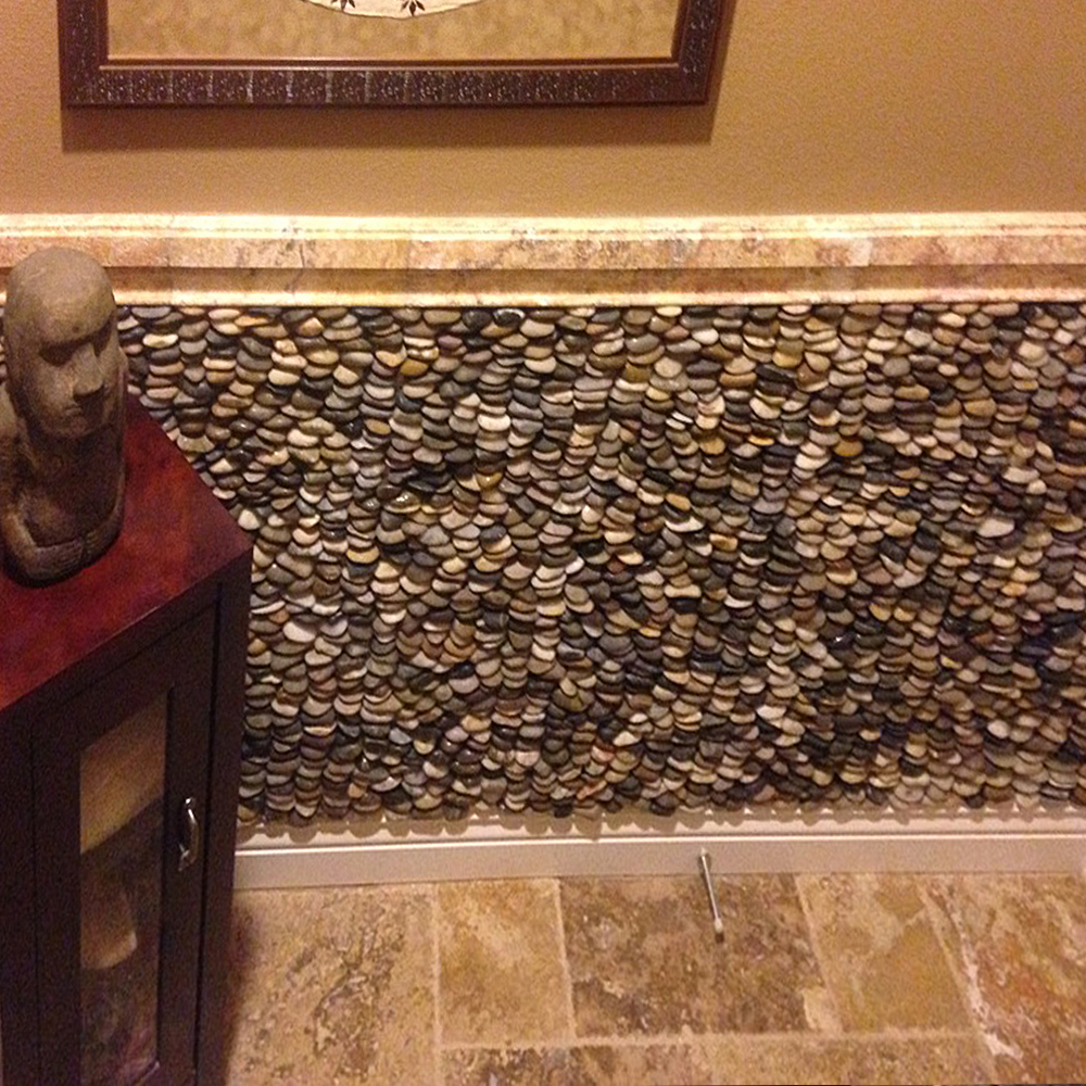 Cobblestone Standing Pebble Tile Feature Wall