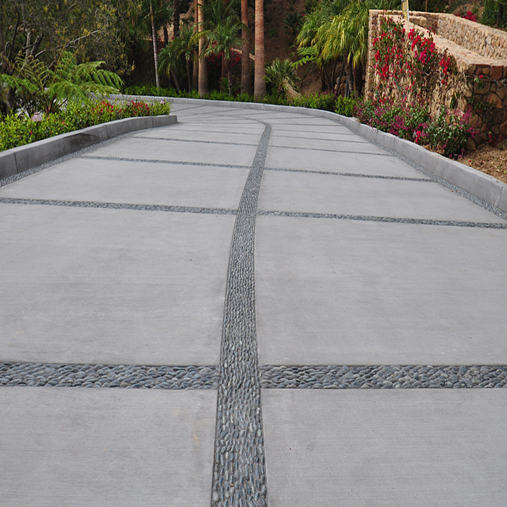 Charcoal Black Standing Pebble Tile Driveway Accents