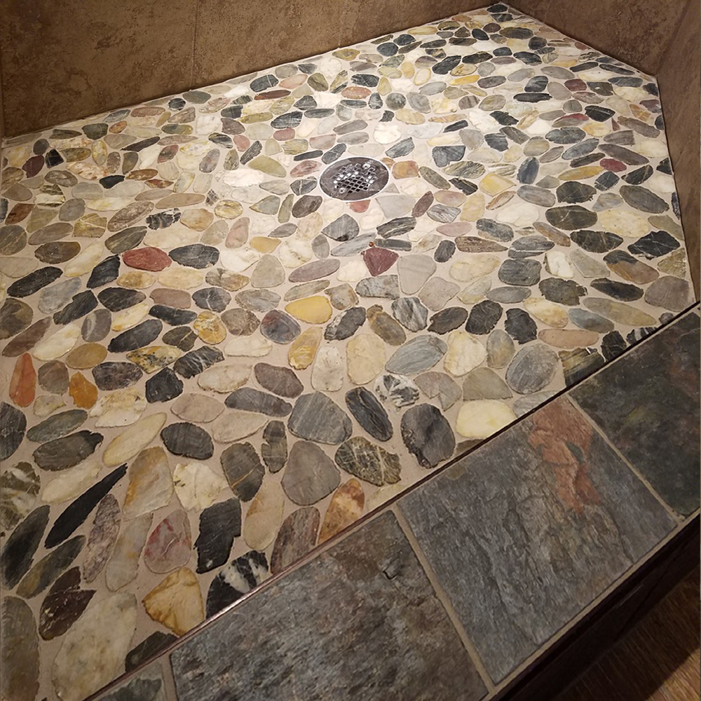 Sliced Cobblestone Pebble Tile Shower Pan