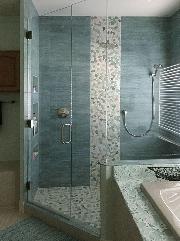 Sliced Sea Green and White Shower and Flooring