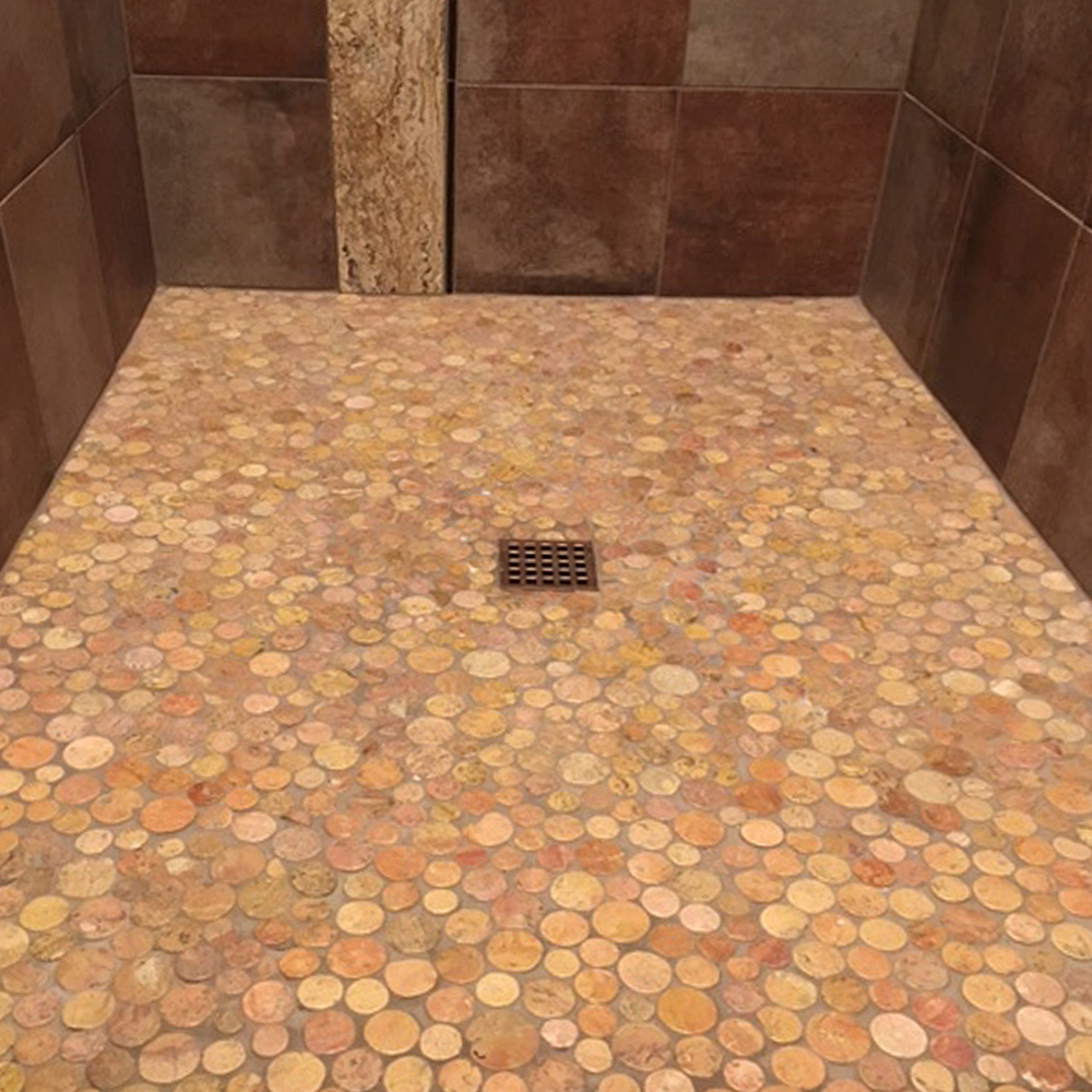 Glazed Sunset Moon Pebble Tile Shower Pan