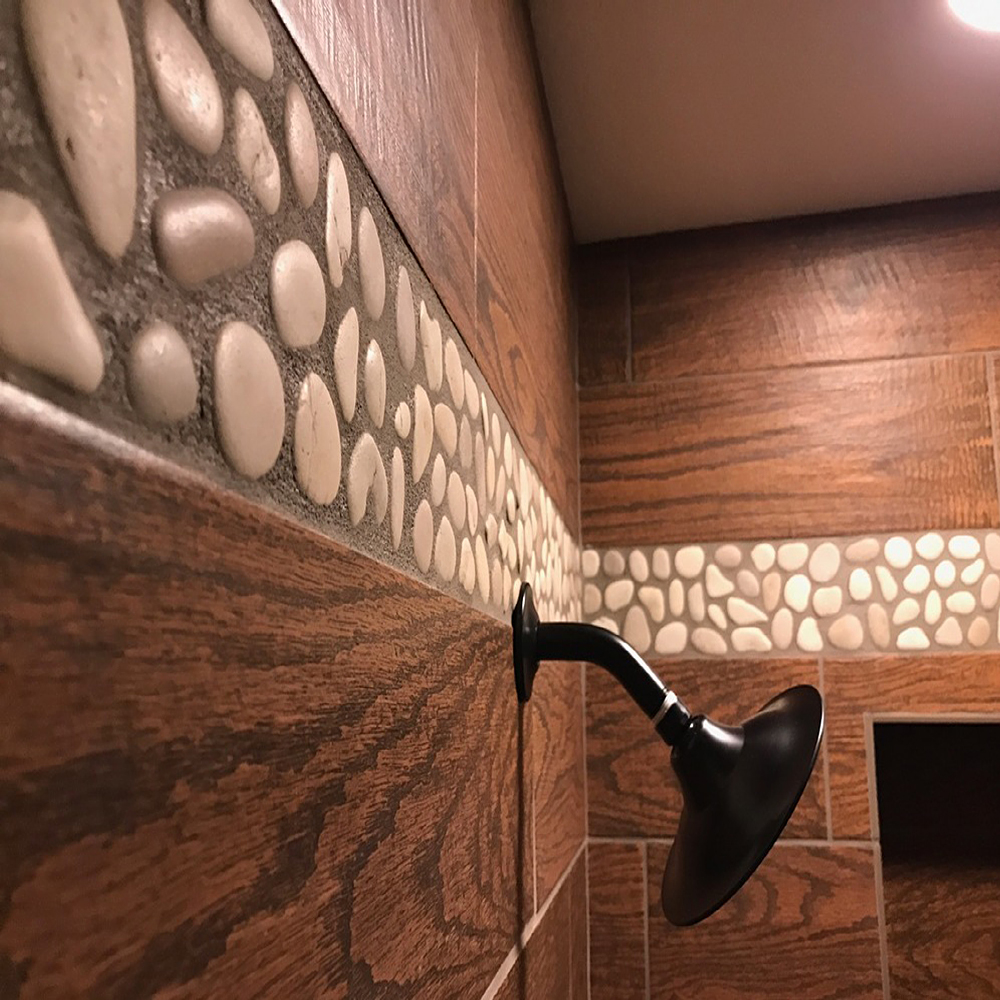 Java Tan Pebble Tile Shower Accent Border