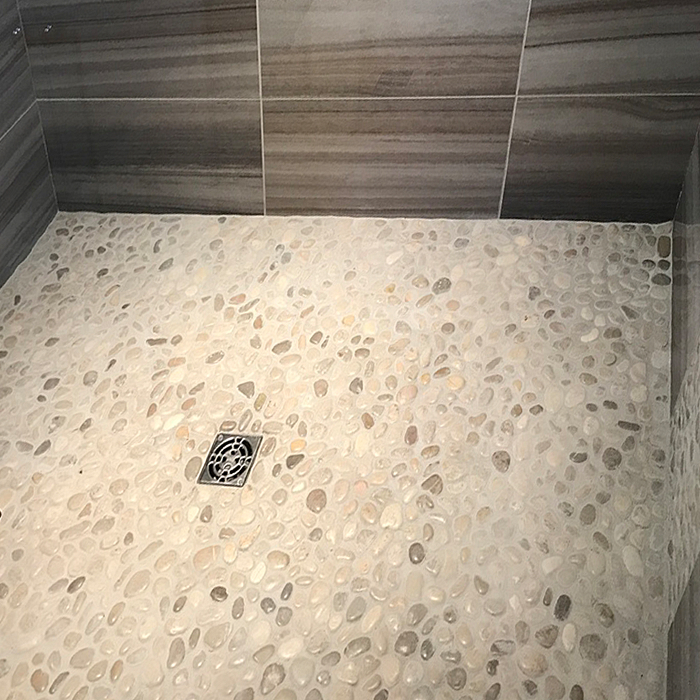 Glazed Bali Cloud Pebble Tile Shower Pan