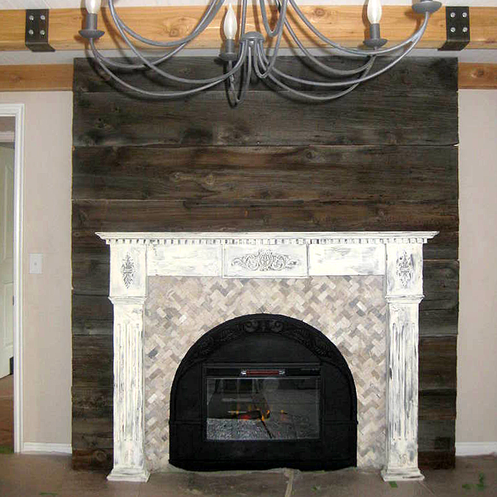 Quartz Herringbone Stone Mosaic Fireplace