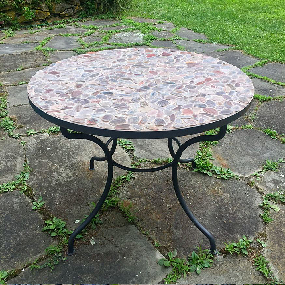 Sliced Red Pebble Tile Outdoor Patio Table