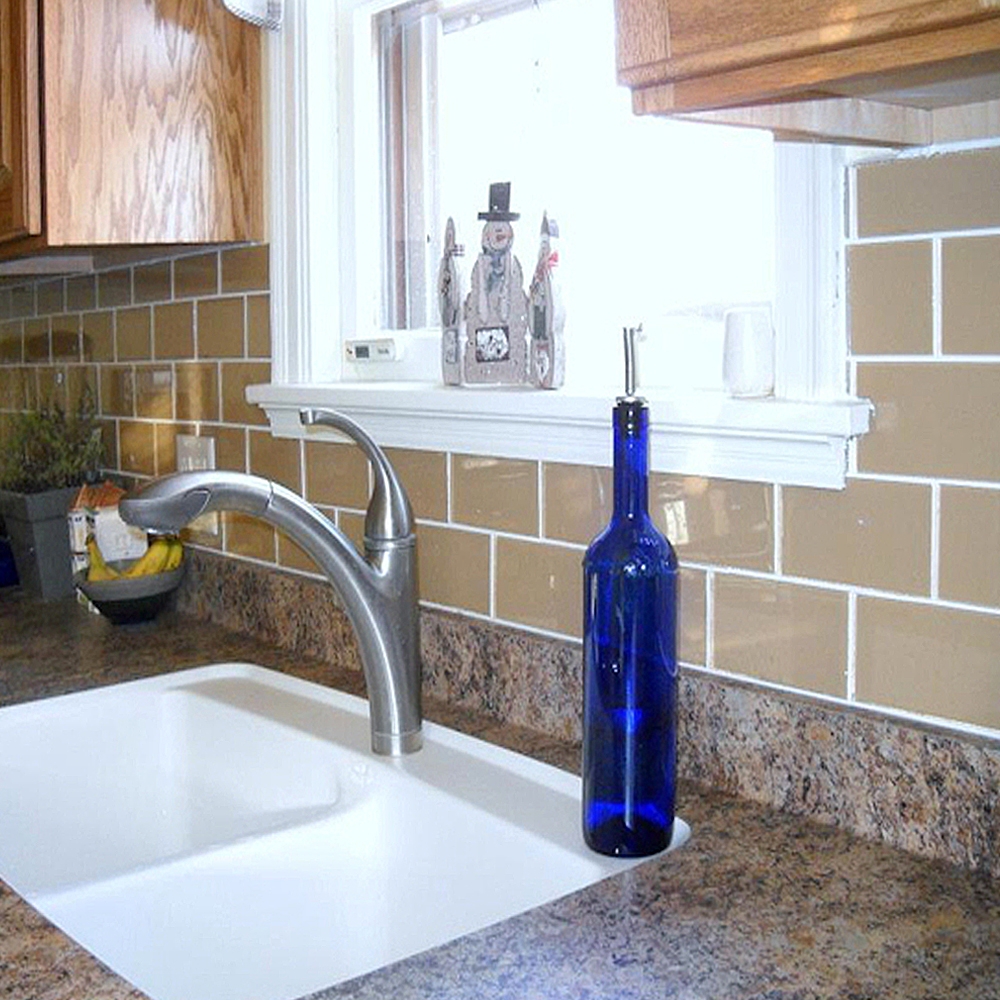 Champagne Glass Subway Tile Backsplash