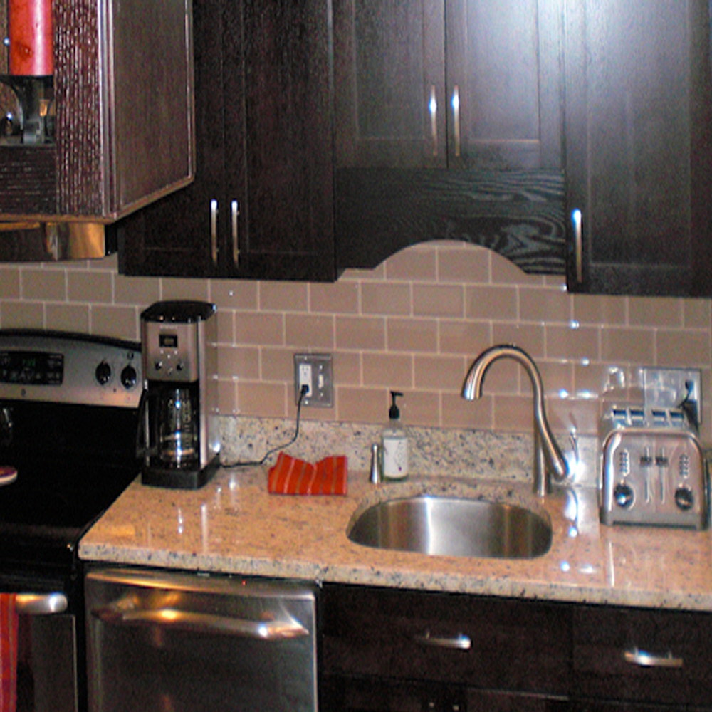 Champagne Glass Tile Backsplash