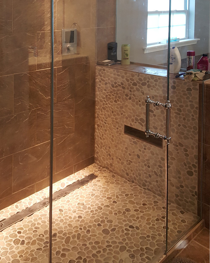 Bali Cloud Pebble Tile Modern Shower