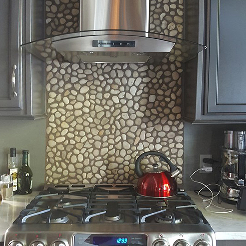 Glazed Java Tan Pebble Tile Kitchen Backsplash