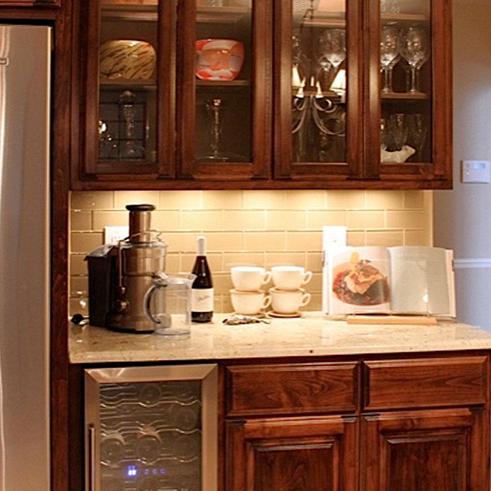 Khaki Glass Tile Backsplash