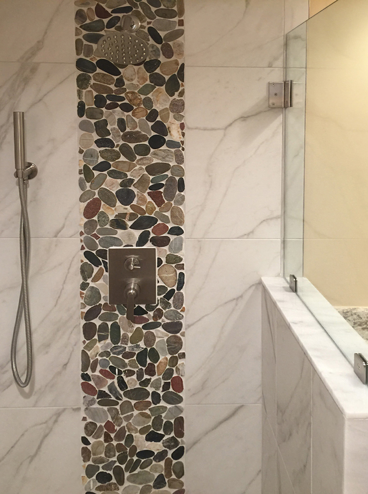 Sliced Cobblestone Pebble Tile Shower Wall Accent Strip