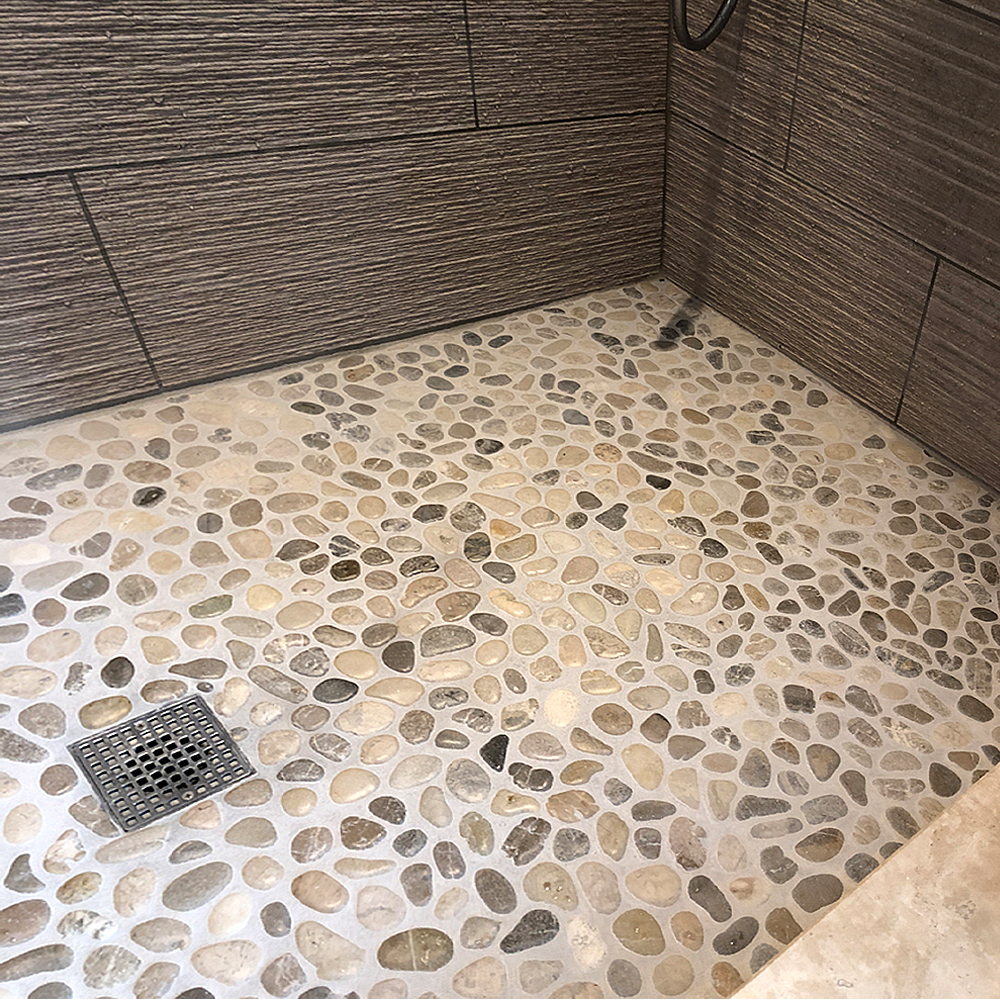 Glazed Bali Cloud Pebble Tile Shower Pan Renovation