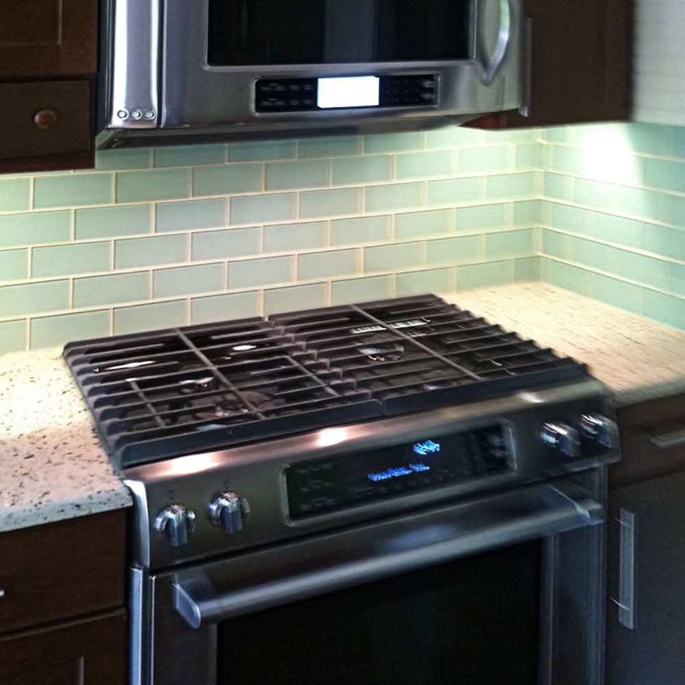 Surf Glass Subway Tile Kitchen Backsplash