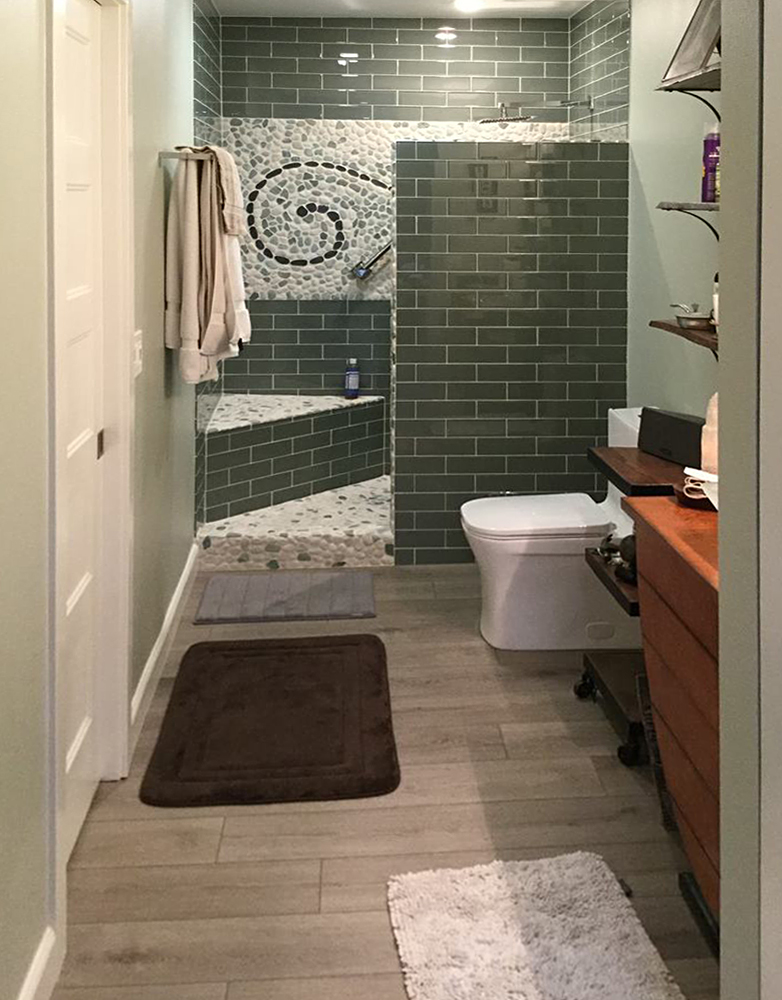 Sea Green and White Pebble Tile Shower Feature