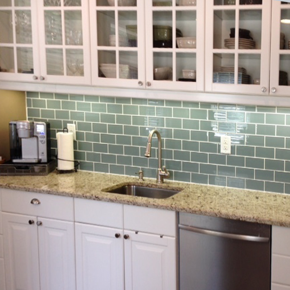 Modern Ocean Grey Kitchen Backsplash
