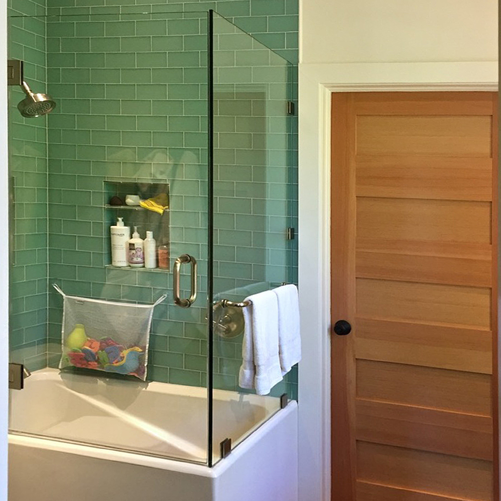 Frosted Sage Green Glass Subway Tile Shower Walls