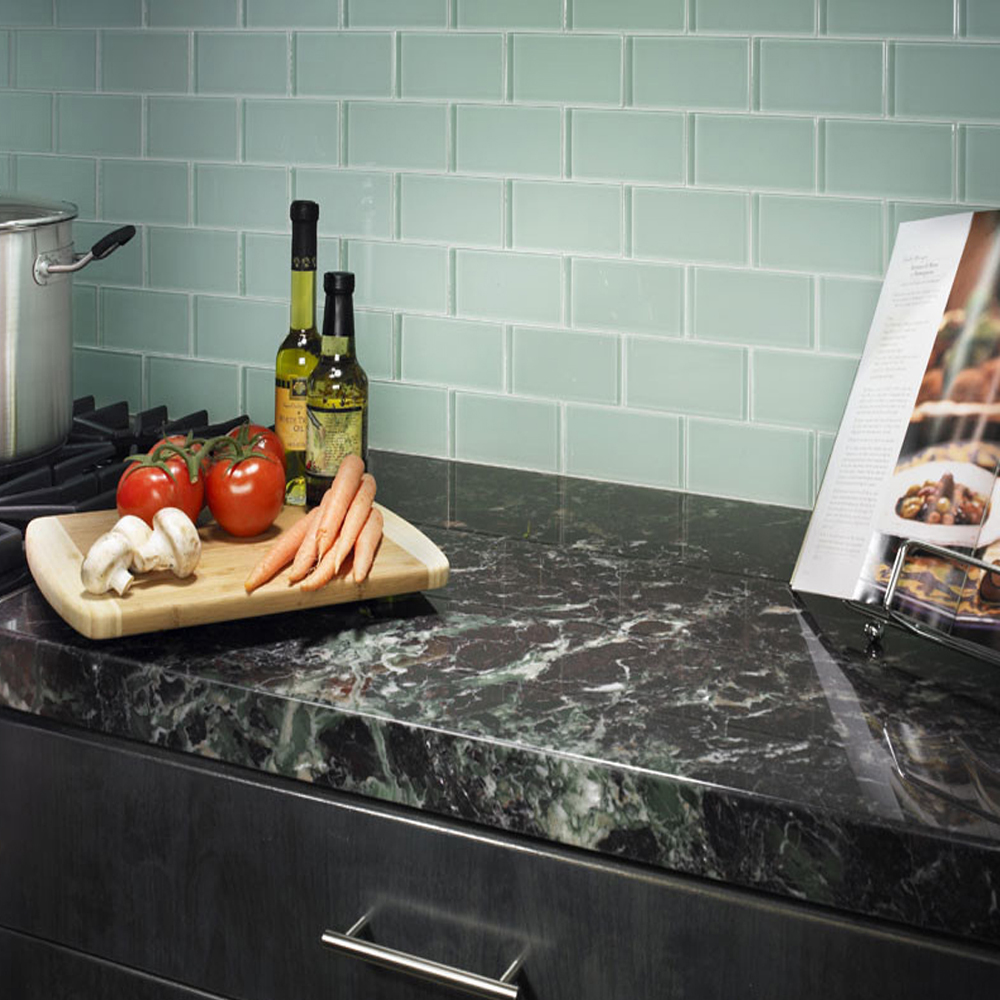 Surf Glass Subway Tile Kitchen