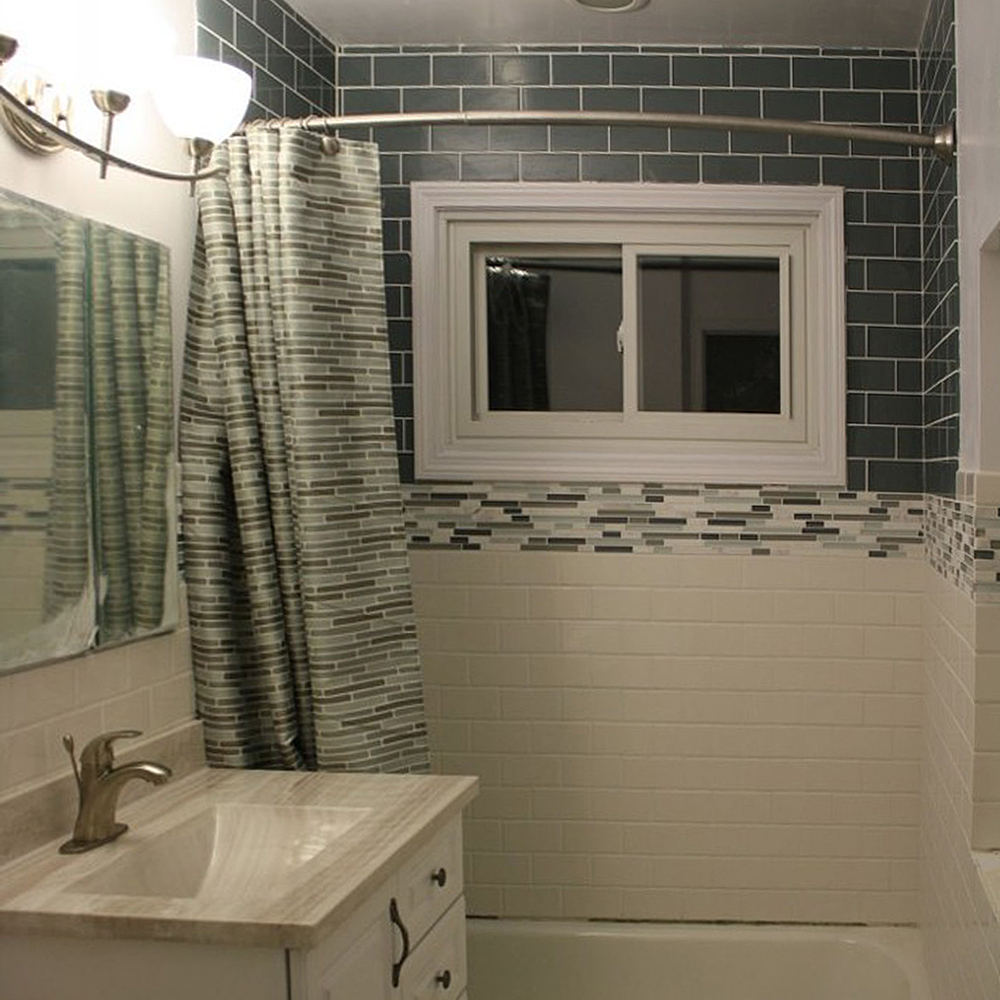 Ice Gray Glass Subway Tile With Ceramic