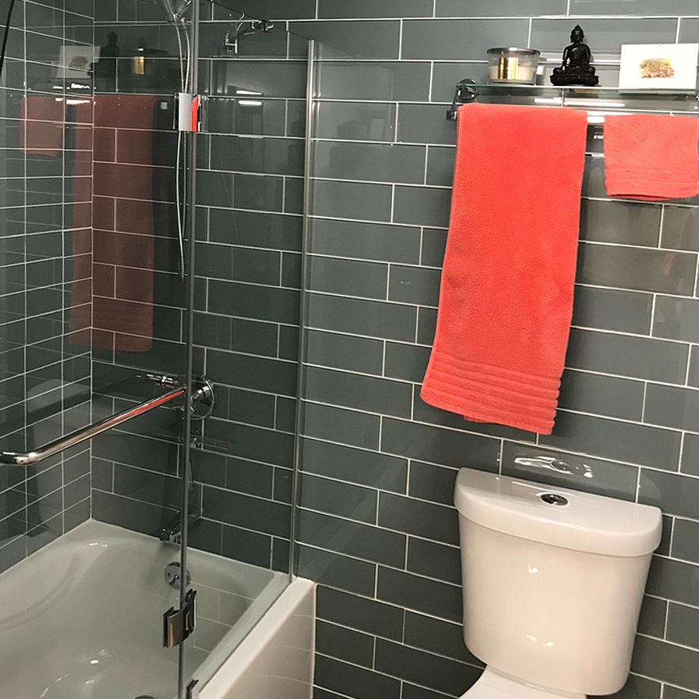 ocean 4 x 1 subway tile bathroom and shower walls