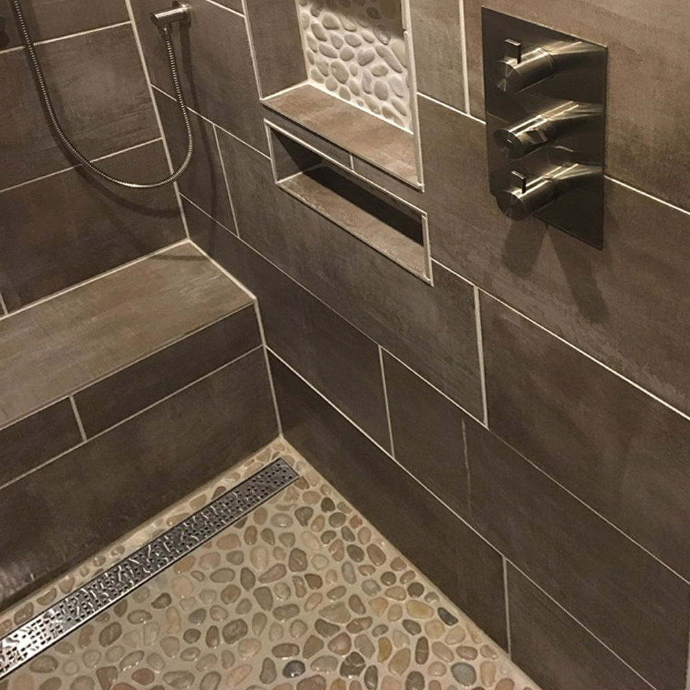 Java Tan Modern Shower Floor and Niche Accent