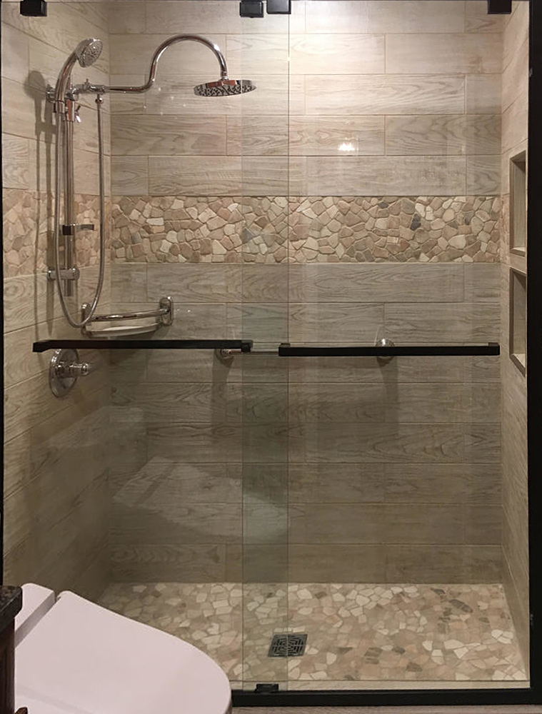 Quartz Mosaic Tile Shower Flooring and Border