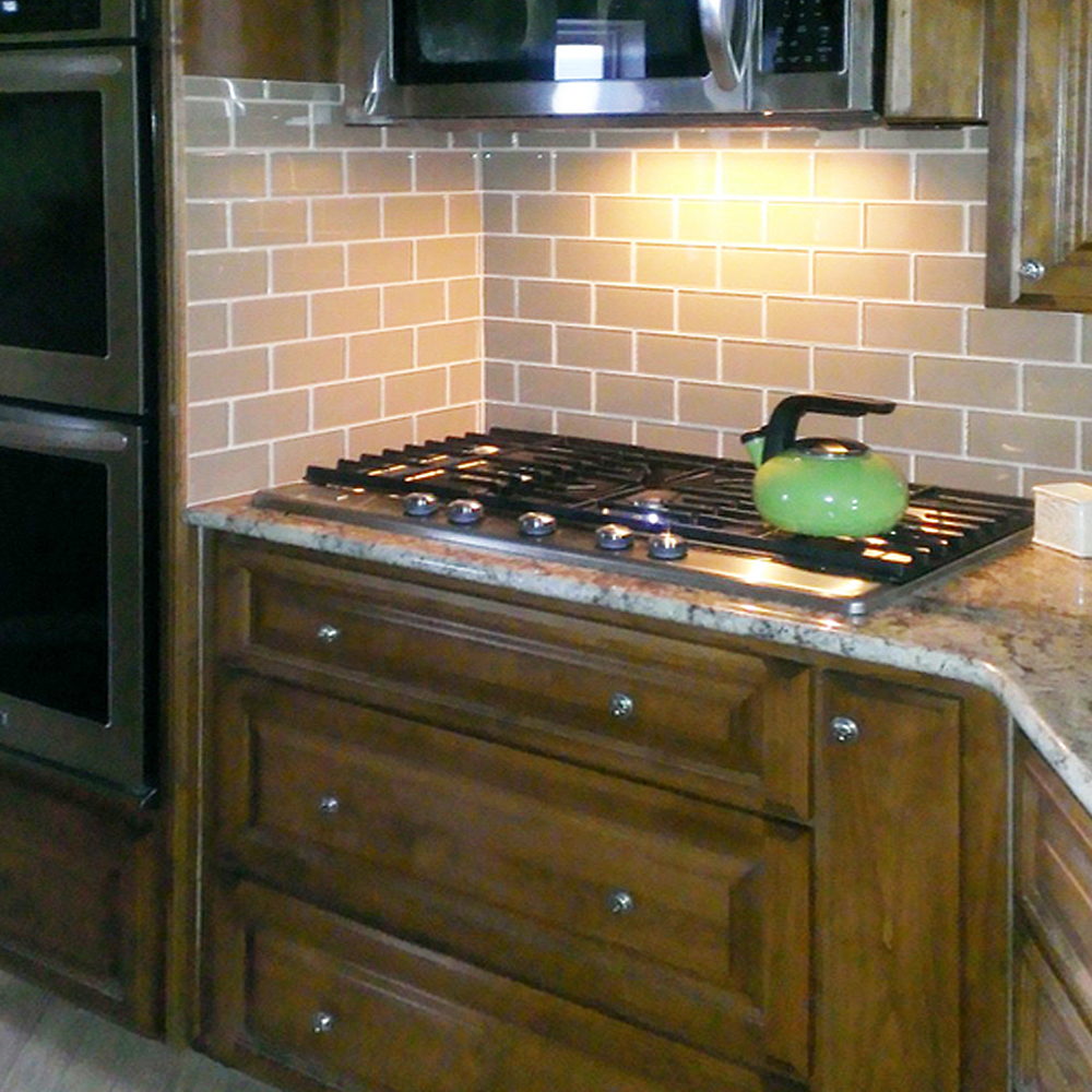 Khaki Glass Subway Tile Country Style Kitchen