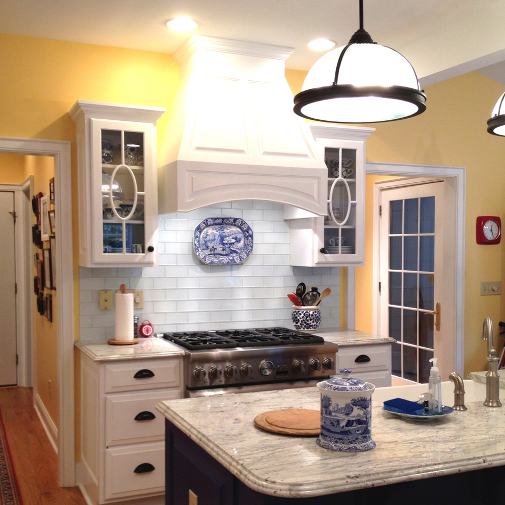White Glass Subway Tile Stove Backsplash