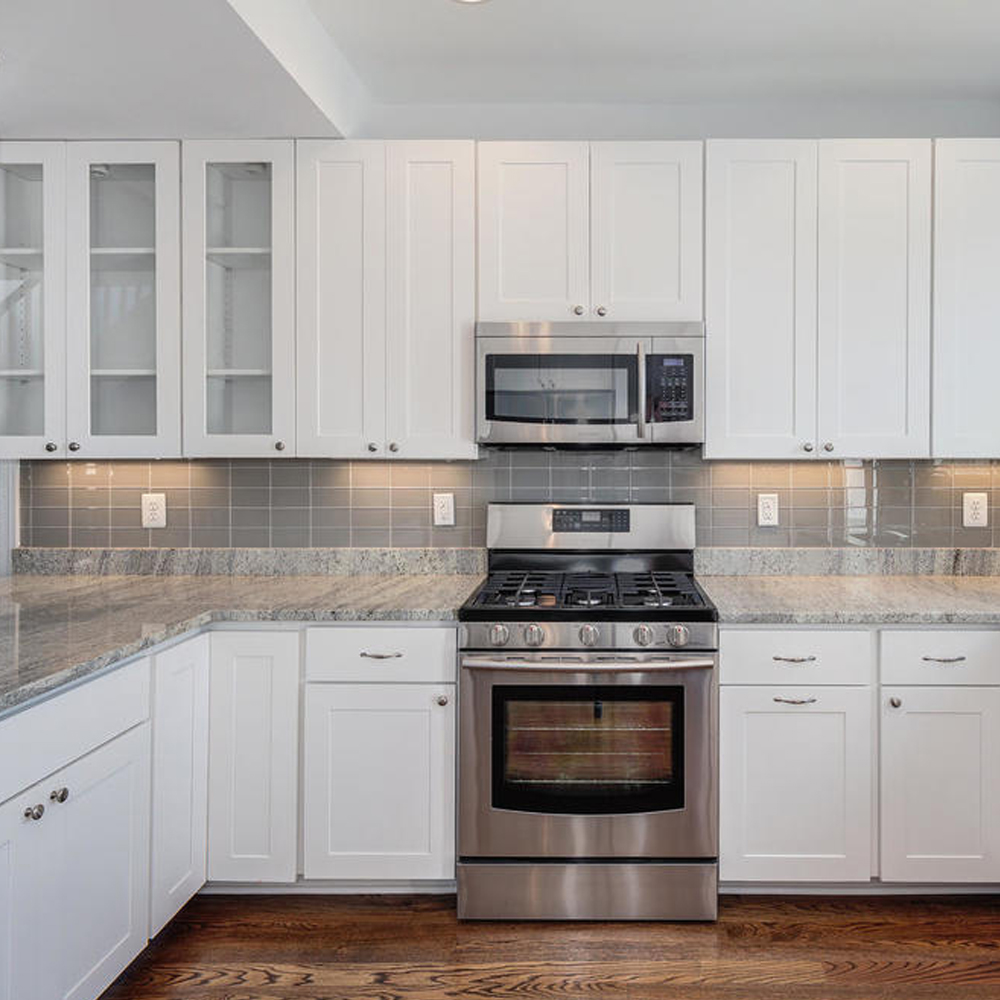 White Cabinets Grey Backsplash Kitchen