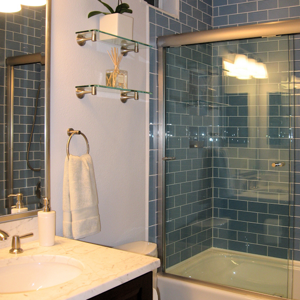 Sky Blue Glass Subway Tile Shower
