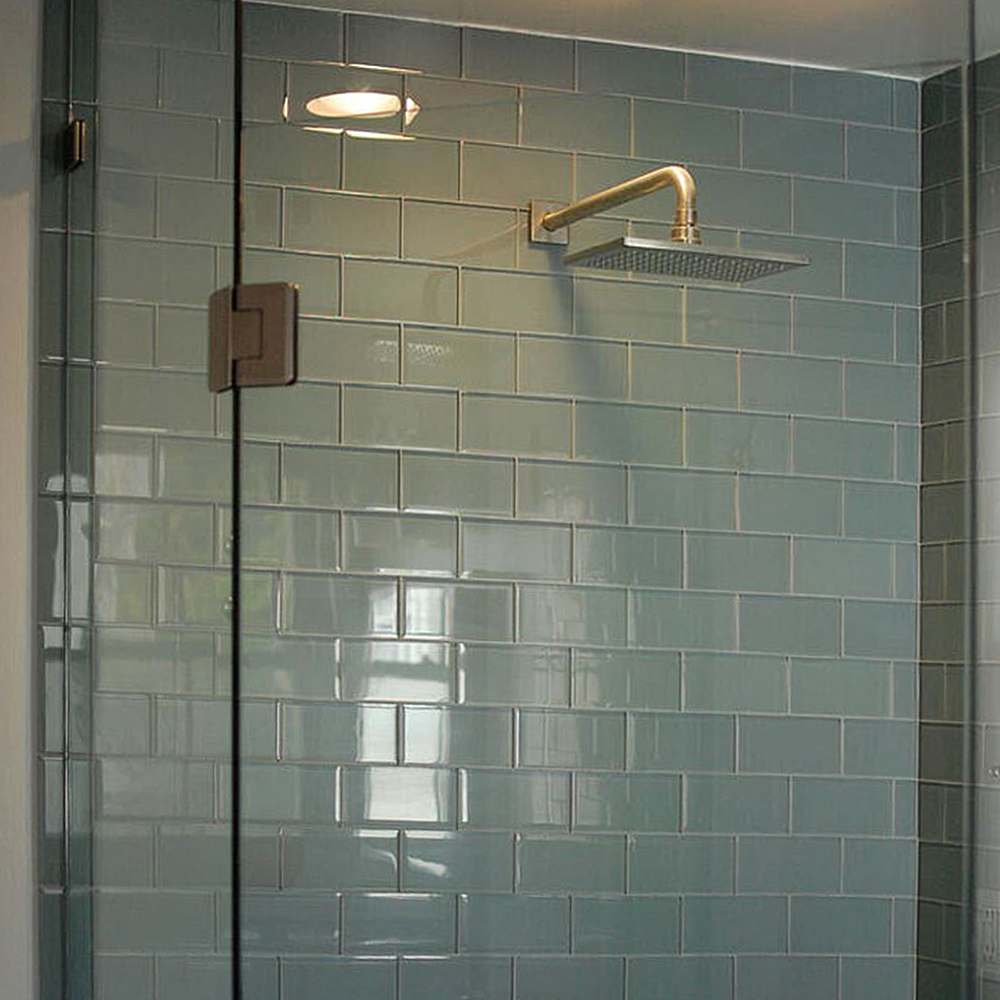 Ocean Glass Subway Tile Shower