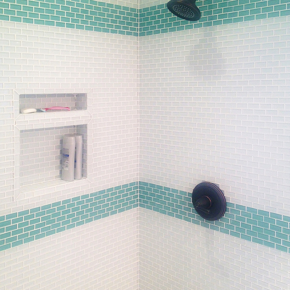 Mini White & Sage Green Glass Tile Shower