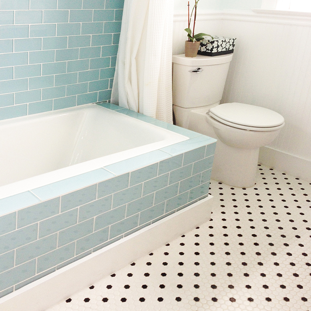 Vapor Glass Subway Tile Bathtub Surround