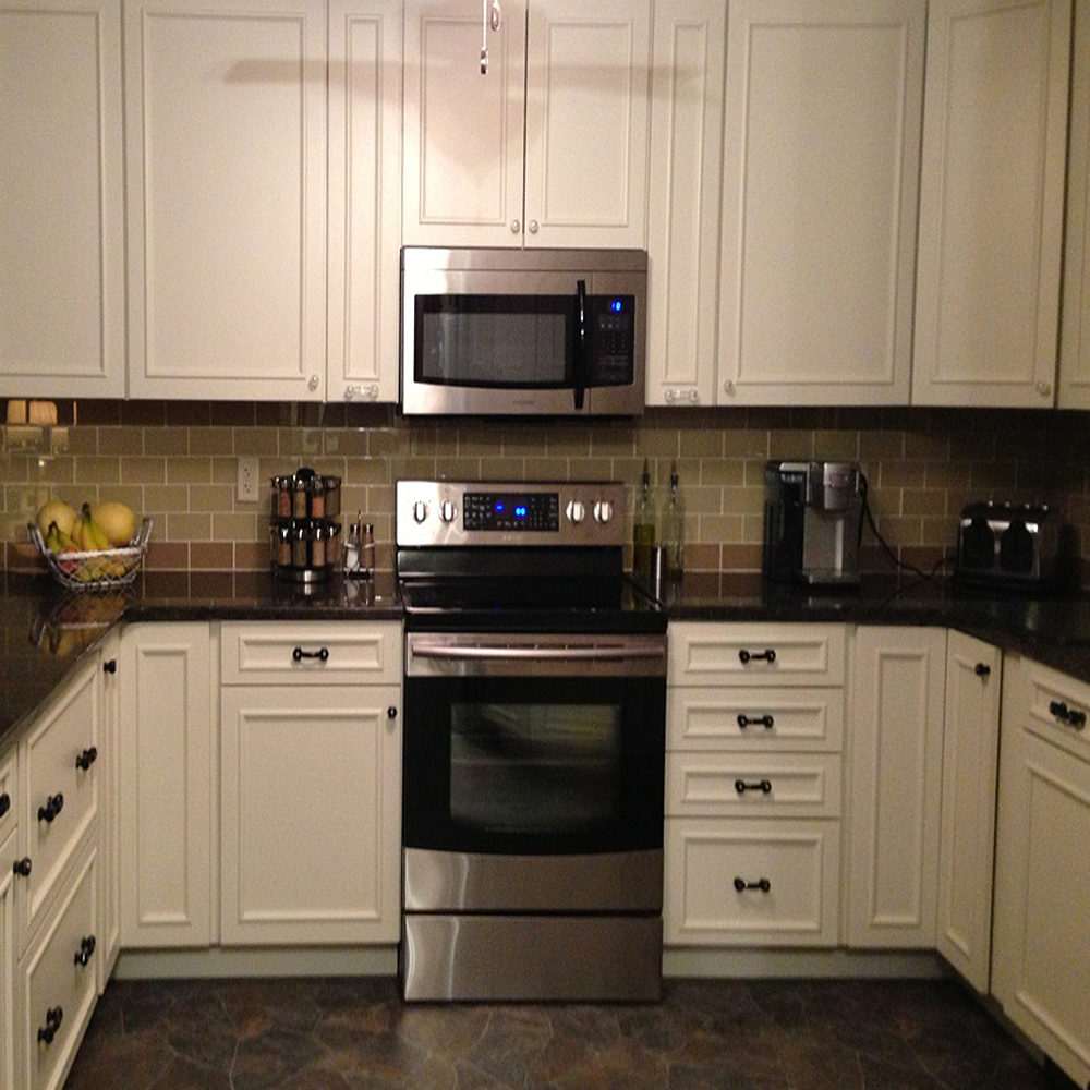 Khaki and Champagne Glass Subway Tile Kitchen Backsplash