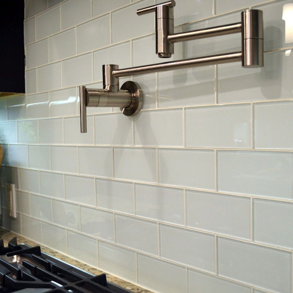 White Glass Subway Tile Behind Stove