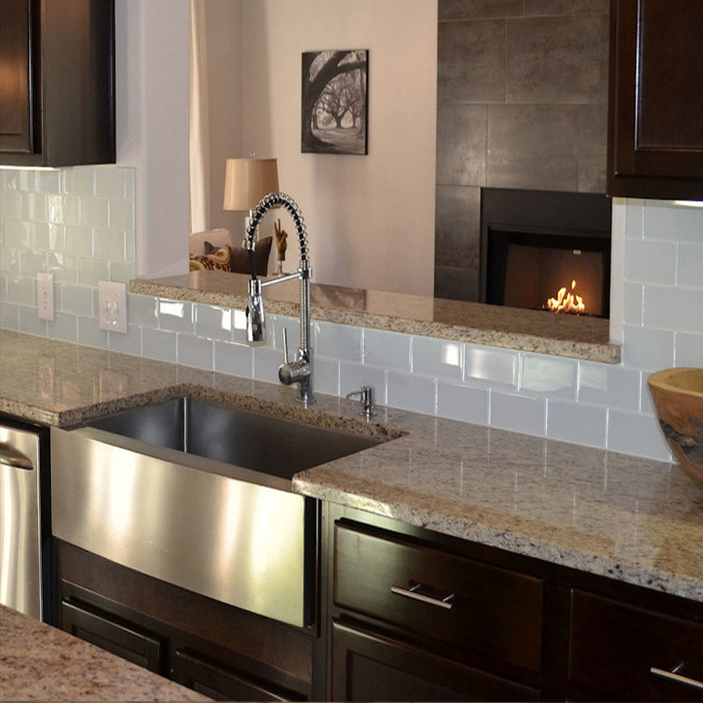 White Glass Tile Kitchen