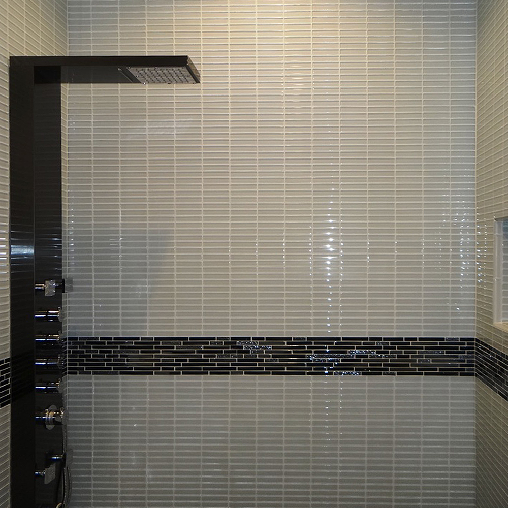 White 1 x 4 Mini Glass Subway Tile Shower Walls