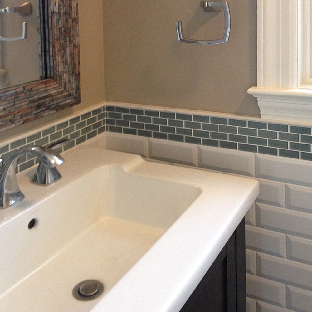 Ocean Mini Glass Subway Tile Bathroom Backsplash