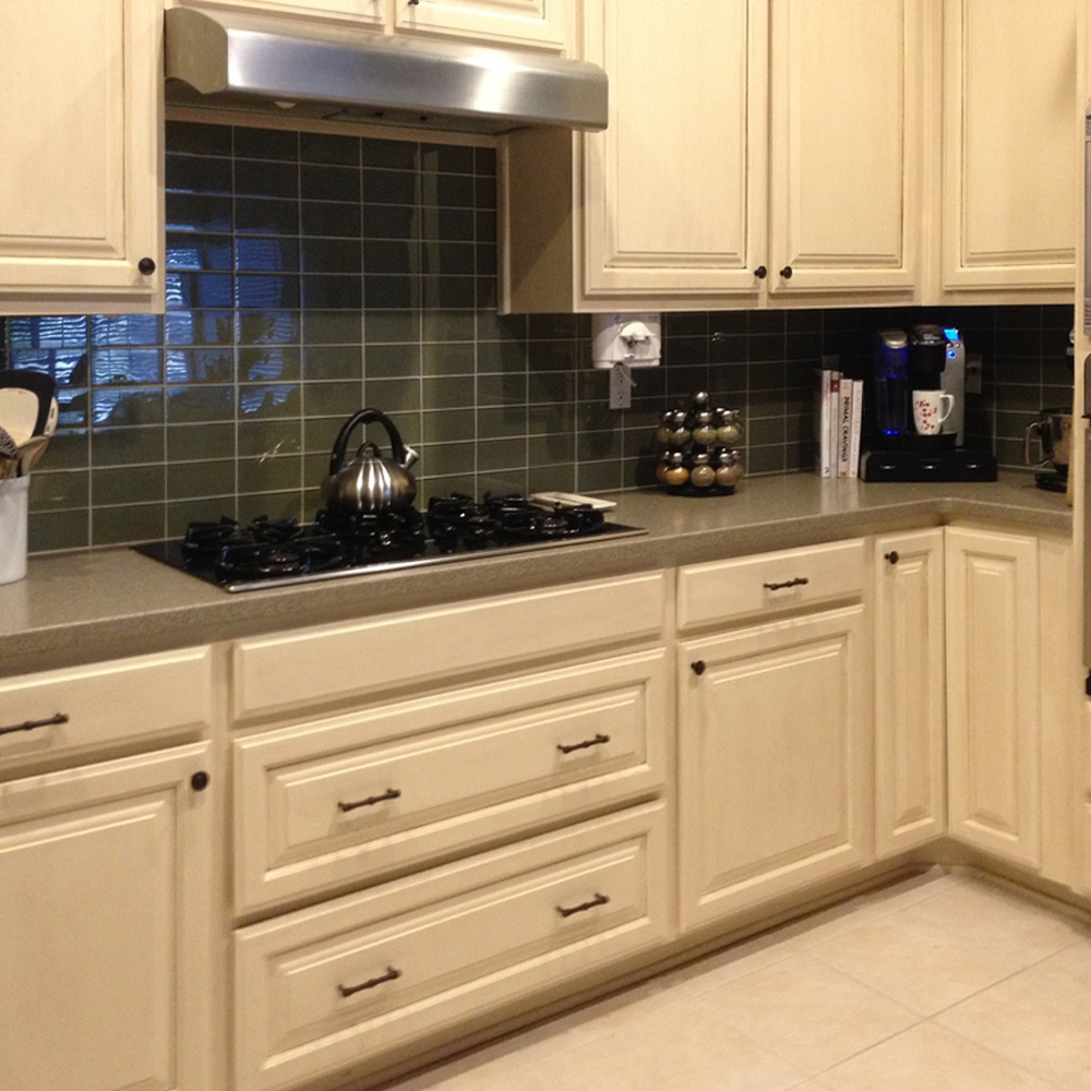 Sagebrush Glass Subway Tile Kitchen Backsplash