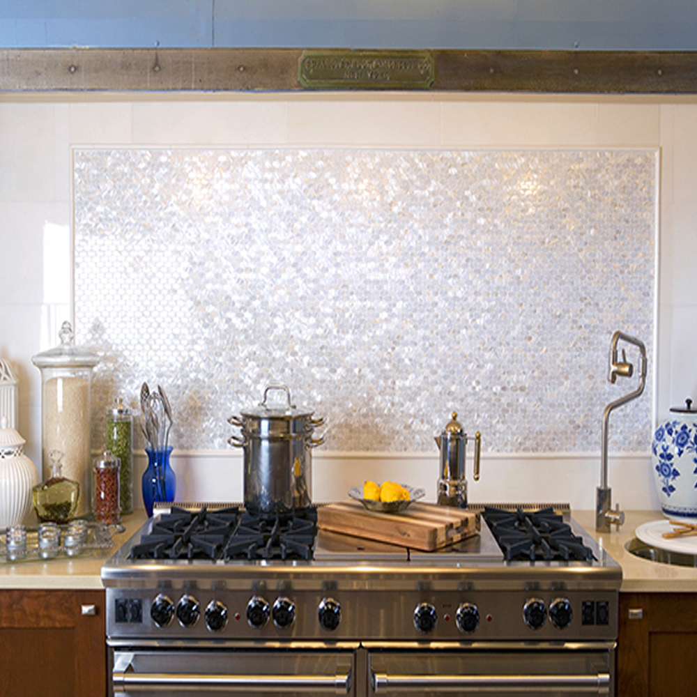 White Groutless Brick Mother of Pearl Shell Tile Backsplash Accent