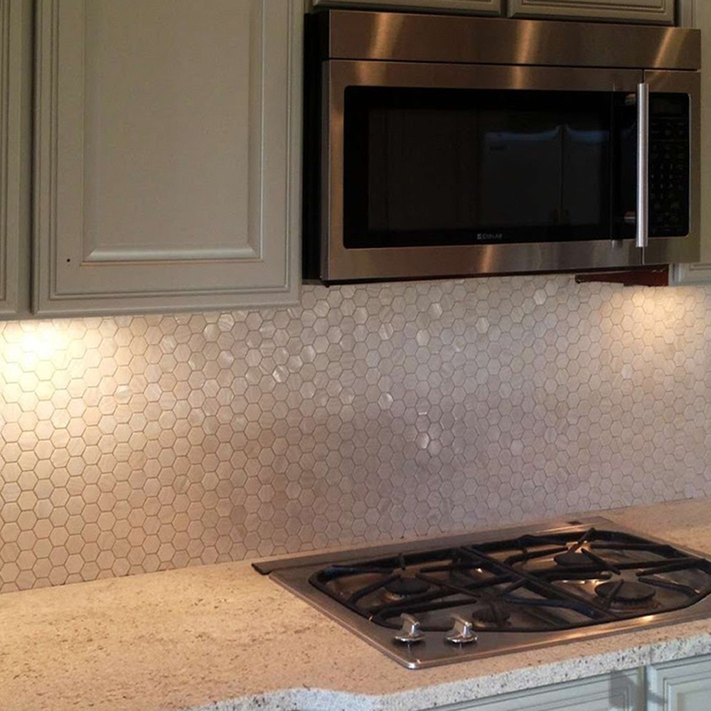 White Hexagon Mother of Pearl Shell Tile Kitchen Backsplash