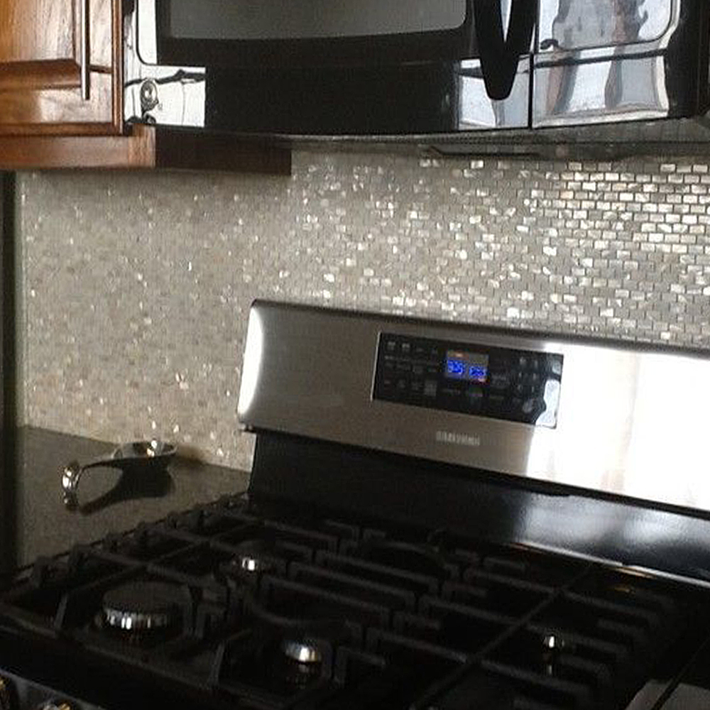 Cream Brick Pearl Shell Tile Kitchen Backsplash