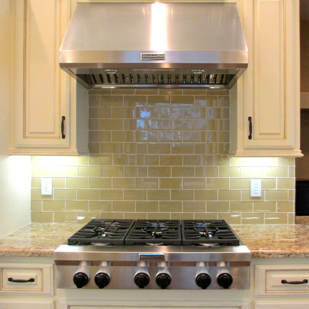 Khaki Glass Subway Tile Modern Kitchen Backsplash