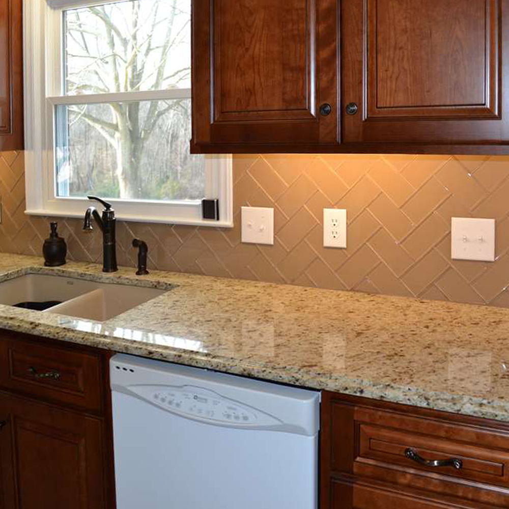 - Champage Glass Subway Tile Herringbone Kitchen Backsplash - Tilehub