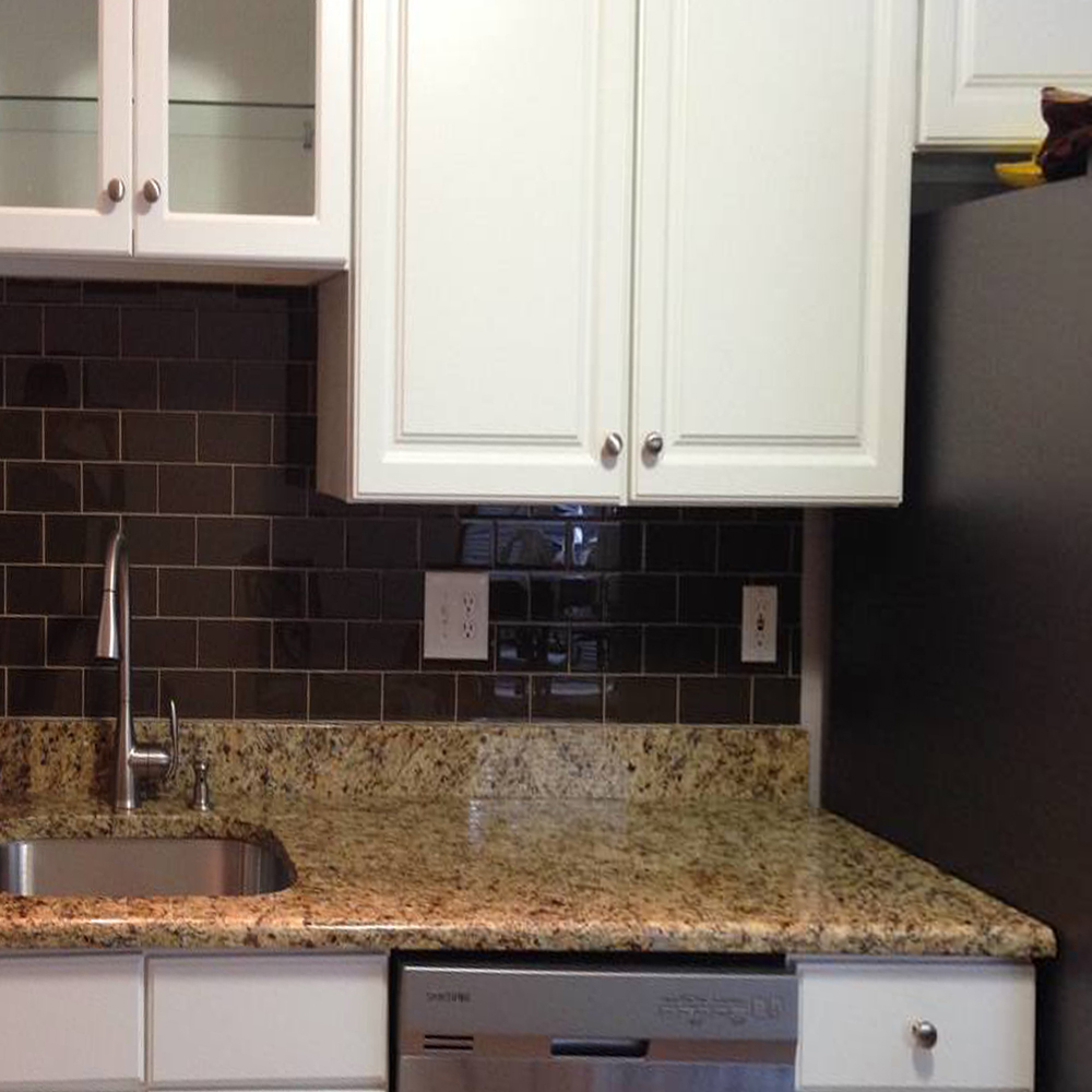 Chocolate Glass Subway Tile Kitchen Backsplash