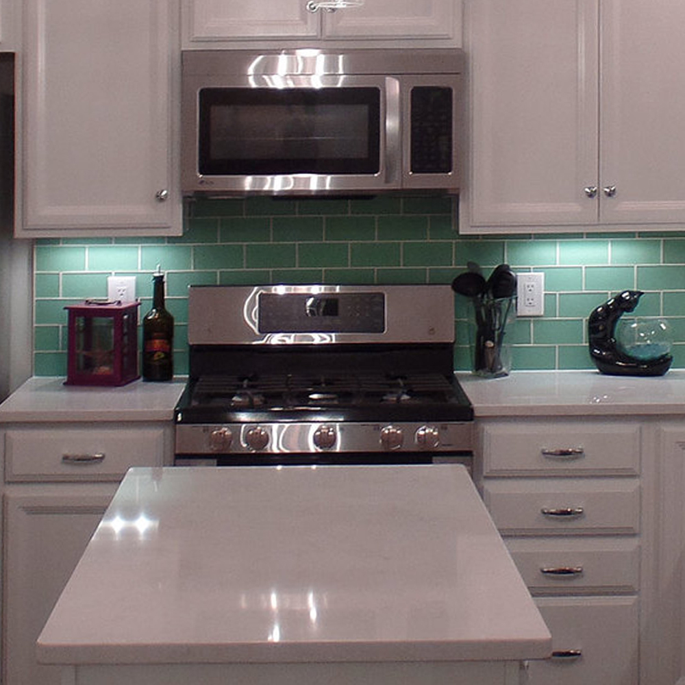 Frosted Sage Subway Tile Kitchen Backsplash