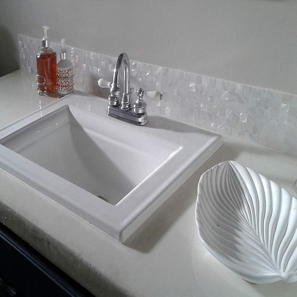 White Groutless Pearl Shell Tile Bathroom Vanity Backsplash