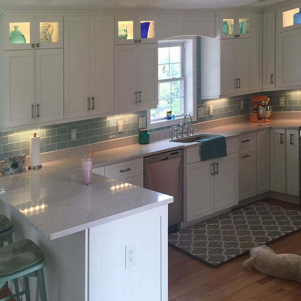 Blue Grey Backsplash With White Cabinets