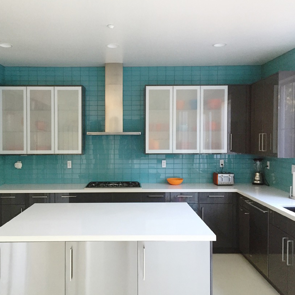 Aqua Glass Subway Tile Modern Kitchen Backsplash