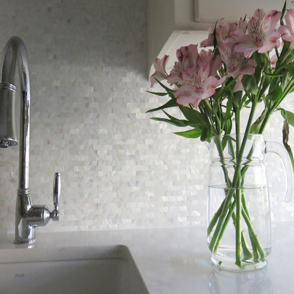 White Brick Groutless Pearl Shell Tile Backsplash